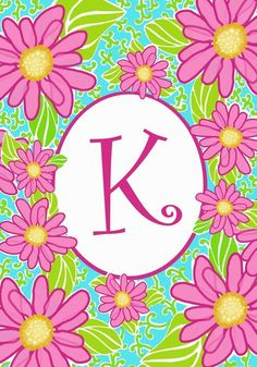 """K"" Monogram Mini Flag - Pink Daisies"