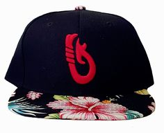 e88f28c8 Route 99 Hawaii Fish Hook floral Hawaiian hibiscus snapback w/ red  embroidery.