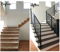 Staircase Banister Ideas, Indoor Stair Railing, Exterior Stair Railing, Modern Stair Railing, Balcony Railing Design, Metal Stairs, Staircase Remodel, Staircase Makeover, Staircase Design