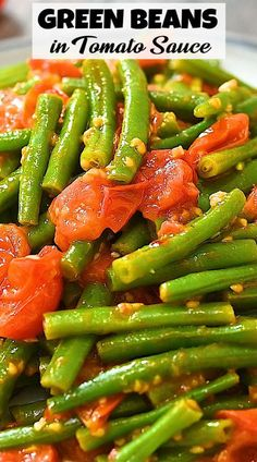 Simple and delicious, these Green Beans in Tomato Sauce make the perfect side dish. Tender green beans, sweet tomatoes, and fresh garlic give this dish incredible flavor. Good Healthy Recipes, Great Recipes, Vegetarian Recipes, Cooking Recipes, Healthy Food, Thanksgiving Recipes, Fall Recipes, Asian Recipes, Quick Meals
