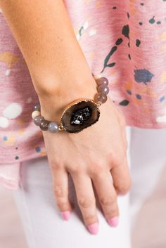 """""""Geode To Joy Bracelet, Black""""This fab bracelet is stunning! The geode stone is trendy is enough but the polished, faceted beads are also very pretty! #newarrivals #shopthemint"""