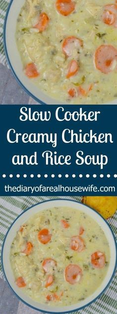 The perfect soup ready made right in your slow cooker. This Slow Cooker Creamy Chicken and Rice Soup is made with veggies, chicken, broth, finished with a creamy sauce to make the best soup. Slow Cooker Creamy Chicken, Creamy Chicken And Rice, Crock Pot Slow Cooker, Crock Pot Cooking, Slow Cooker Recipes, Crockpot Recipes, Chicken Recipes, Cooking Recipes, Crockpot Chicken Rice Soup