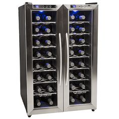 EdgeStar 32 Bottle Dual Zone Stainless Steel Wine Cooler w/ French Doors, winecoolerdirect out of  Westborough, MA