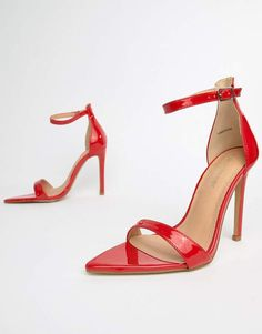 bdb31da94b4 Shop Public Desire Ace red patent heeled sandals at ASOS.