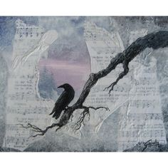 Crow Raven Mixed Media Original Acrylic Blue Painting Contemporary Art... ($155) ❤ liked on Polyvore featuring home, home decor, wall art, mixed media wall art, blue home accessories, music themed wall art, contemporary wall art and music wall art