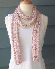 Ready+to+Ship+++Knit+Scarf+with+Soft+Pink+Rayon+&+by+ArtsyCrochet,+$62.00