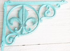 $30 Turquoise Cast Iron Shelf Brackets Metal by Thepinkpicketfence