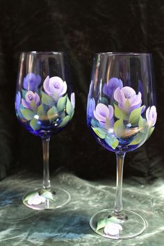 online shopping for Hand Painted Wine Glasses - Roses Lavender White Cobalt Blue glass (Set from top store. See new offer for Hand Painted Wine Glasses - Roses Lavender White Cobalt Blue glass (Set Wine Glass Crafts, Wine Craft, Wine Bottle Crafts, Decorated Wine Glasses, Hand Painted Wine Glasses, Painting On Wine Glasses, Bottle Painting, Bottle Art, Pebeo Porcelaine 150