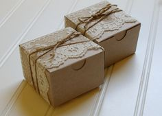 Items similar to Lace and Twine Kraft Paper Boxes. on Etsy Chic Bridal Showers, Bridal Shower Rustic, Bridal Shower Favors, Bridal Shower Decorations, Wedding Favours, Bridal Shower Invitations, Chocolate Flowers Bouquet, Tea Party Wedding, Chic Wedding