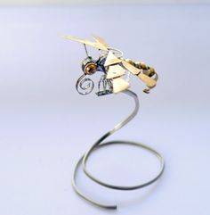 Watch Parts Dragonfly Spiralfly Sculpture Recycled Mechanical Clockwork Dragon Fly Figurine Watch Stems Faces Insect Justin Gershenson-Gates