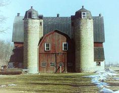 Old Twin Silo Barn...in Winnebago, Wisconsin - photo by Slider Jake.