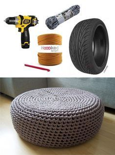 Buena idea para reciclar neumático - yellowgirl.at - DIY Crochet Tire Puff Manufacturing Business Ideas, Crochet For Beginners, Diy Christmas Gifts, Outdoor Furniture, Outdoor Decor, Decoration, Diy Gifts, Repurposed, Recycling