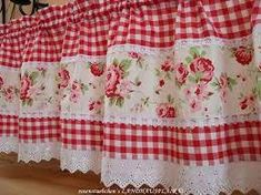 New Sewing Projects Curtains Fun Ideas Shabby Chic Kitchen Curtains, Kitchen Curtains And Valances, Gingham Curtains, Cute Curtains, No Sew Curtains, Window Valances, Rideaux Design, Theme Color, Curtain Designs