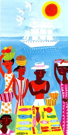 Caribbean Fish Market Illustration ~ by Christopher Corr