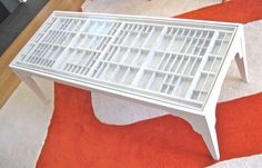 Handmade Coffee Table That Has A Top Made From Repurposed Letterpress Or…