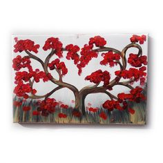 "red cherry tree Painting Original small Art 28 KSAVERA 8""x12"" Flowers Art Nouveau Sakura painting on canvas birthday for mom her by KsaveraART #TrendingEtsy"