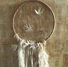 My dream catcher. Made from a hoola hoop, lace, feathers, twine