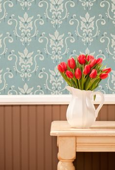 Amazing wall stencil. Or do I just love the tulips?