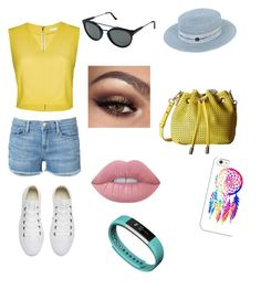 """""""Summer walk"""" by jill-hubbard ❤ liked on Polyvore featuring Frame Denim, Alice + Olivia, Maison Michel, RetroSuperFuture, Steve Madden, Converse, Lime Crime, Casetify and Fitbit"""