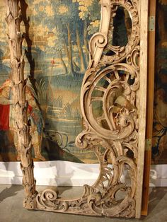 Rare Pair of Carved Antique French Walnut Wood Rococo Gates 3
