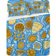 Renie Britenbucher Funky Flowers Tan Blue Sheet Set