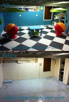 Suzie haus interior bumblebee yellow black basement for Playroom flooring ideas