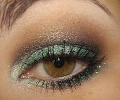 Beautiful green and brown shadow for brown eyes