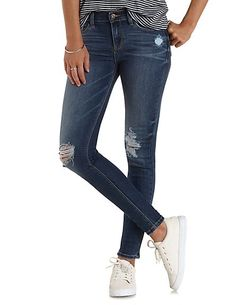 Ripped Knee Skinny Jeans: Charlotte Russe #jeans