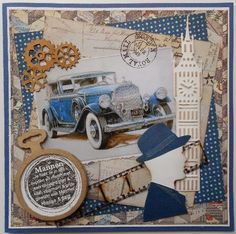 From Tineke van der Linden in the Netherlands Masculine Birthday Cards, Birthday Cards For Men, Man Birthday, Masculine Cards, Heritage Scrapbook Pages, Travel Scrapbook, Art Deco Cards, Steampunk Theme, Boy Cards