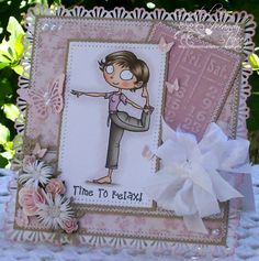 """Ingredients - Image & Sentiment - Kraftin' Kimmie, Mandy (to quote Kimmie """"no kidding she's called Mandy"""" lol) Medium - Copics Papers - Maya Designs, Kraft cardsock & Tim Holtz Victorian Velvet distressed cardstock Seam Binding - The Ribbon Girl Pearls - Melissa Frances & Hero Arts Flowers - Kort & Godt & Wild Orchid Tools - Cuttlebug, Cheery Lynn large butterfly, MS classic 3-in-1 butterfly punch & MS Deco Fan Shells PATP, CC Designs leafy branch, Tim Holtz embossing folder, sewing machine"""
