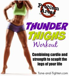 "Tone & Tighten: Problem Areas Series - How to get rid of ""Thunder Thighs"" - At home workout for legs Fitness Diet, Fitness Motivation, Health Fitness, Fitness Gear, Workout Fitness, Thunder Thigh Workout, Thigh Exercises, Thigh Workouts, Thunder Thighs"