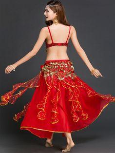 Rose rouge 3 pièces en mousseline de soie Belly Dance Costume pour femmes-No.3