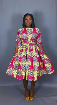 NEW IN:Vintage style African print tea length dress,clothingwomen's clothing,cocktail dress,dresses, Short African Dresses, Latest African Fashion Dresses, African Print Dresses, Ankara Fashion, Latest Outfits, African Inspired Fashion, African Print Fashion, Africa Fashion, Ankara Styles For Women