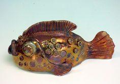 M.Wein RAKU fired to 1100c Copper Glaze