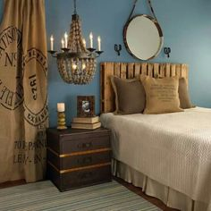 Love the burlap curtains!