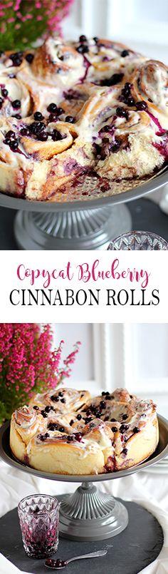 Cinnabon with vanilla cream cheese frosting and Blueberrys -  Zimtschnecken mit Vanilleguss und Heidelbeeren