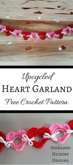 """Free crochet pattern for holiday decorating. Make the Upcycled Holiday Garlands out of 1"""" plastic rings found on water bottles! Hearts and Shamrocks. #CrochetValentines"""