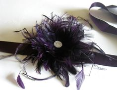 Plum eggplant feather bridal belt wedding sash by alicehartcouture, $89.00