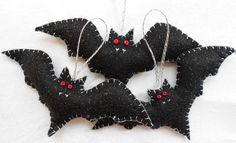 Set of 3 Sparkly Vampire Bats by TheGroovyZoo on Etsy