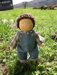 Waldorf doll, love the denim overalls!