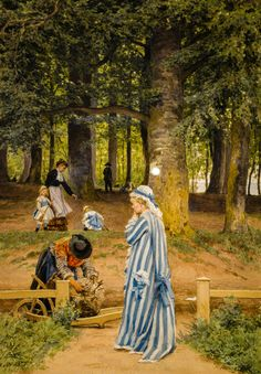 Anton von Werner - The Artist's Wife and Daughters in a Park at Heringsdorf…