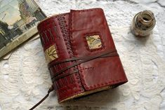 Love to Write - Hand Bound Leather Journal, Red, Vintage Hungarian Linen, Tea Stained Pages - OOAK Leather Notebook, Leather Books, Leather Journal, Vintage Leather, Brown Leather, Tea Stained Paper, Cotton Drawstring Bags, Small Book