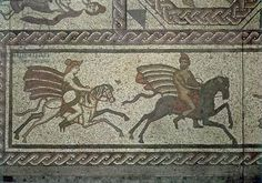 Mosaic pavement from the Roman villa at Low Ham, illustrating the story of Dido and Aeneas from Virgil's Aeneid, c.350 AD (mosaic), left panel depicts Aeneas and Dido hunting on horseback; mosaics were found in the Frigidarium of the villa; Somerset County Museum, Taunton Castle, UK