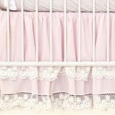 pink and vintage lace double ruffle crib skirt