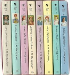 Anne of Green Gables/Anne of Avonlea/Anne of the Island/Anne of Windy Poplars/ Anne's House of Dreams/ Anne of Ingleside/ Rainbow Vally/ Rilla of Ingleside. Personal favorites: Anne of Green Gables & Anne of the Island. Anne D'avonlea, I Love Books, Good Books, Anne Of Windy Poplars, Anne Auf Green Gables, Anne Of The Island, Gilbert And Anne, Gable Boxes, Anne With An E