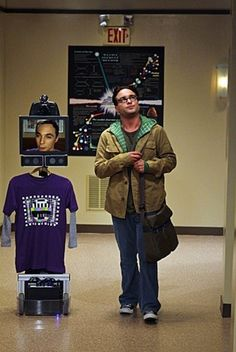 "Leonard and Sheldon. Apparently it was ""Take your Shelbot to work day."""