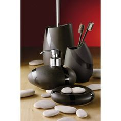 Stone Moka Bathroom Accessories. Made out of pottery. Stone Bathroom Accessories range includes: Soap dish Toothbrush holder Soap dispenser Toilet brush holder Made out of pottery. Available in Moka and Sandstone. Was £133.00 Now £99.74