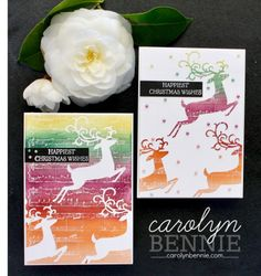 Dashing Deer 1 stamped image to make 2 cards - Carolyn Bennie Animal Cards, Beautiful Christmas, Homemade Cards, Stampin Up, Deer, Christmas Cards, Paper Crafts, Holiday, How To Make