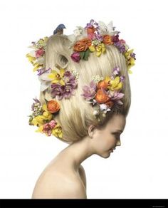 Flowers in her hair/karen cox.Makayla Harmon for More June shot by Geof Kern Botanical Fashion, Floral Fashion, Crazy Hair, Big Hair, Selena, Avant Garde Hair, Floral Headpiece, Hair Images, Health And Beauty Tips