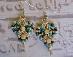 Micro macrame earrings in teal bronze and natural hemp. Macrame jewelry.